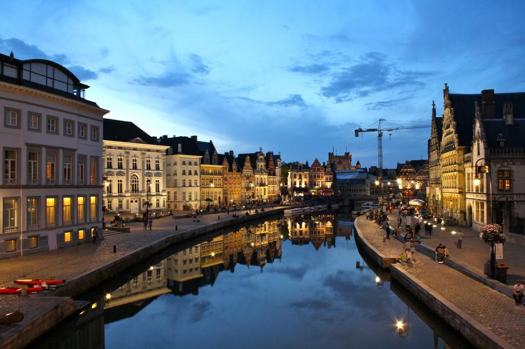 Gent_Graslei_zonsondergang